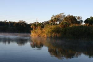 Early morning mist at Indiantown Marina