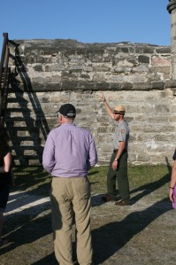 Park Ranger declaiming the history of Fort Matanza