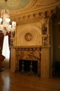 Fireplace in the Ladies' parlour. The clock was a gift from Edison