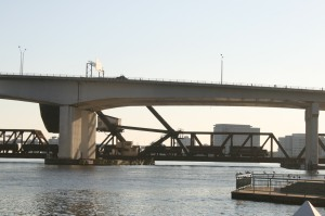A freight train passes over FEC railroad bridge, Jacksonville