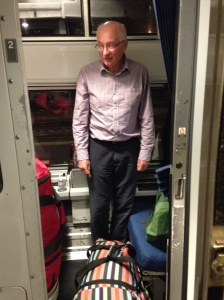 Ian trying to turn round in the roomette.