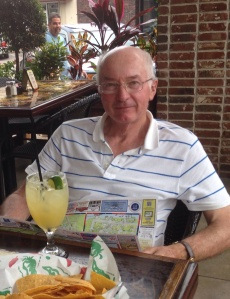 Ian enjoying a Jefe ('a margarita for the big boss') at Pepper's Cantina