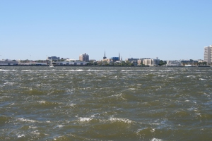 Windy conditions in Charleston Harbour