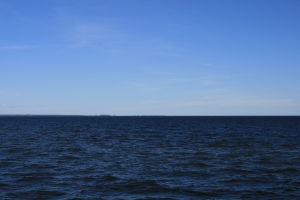 Pamlico Sound and the Outer Banks just visible on the horizon