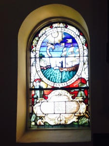 Window in St John's Church bearing the Seal of the Society for the Propagation of the Gospel in Foreign Parts