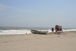 Lifeguards huddling in the wind, Cape May