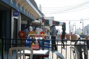 Outside the ice-cream kiosk