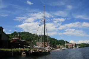 The sloop Clearwater moored at Rondout