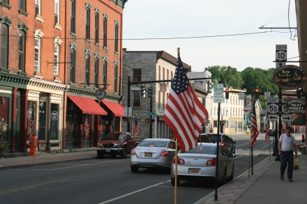 Canajoharie Main Street, flying the flag for 4 July