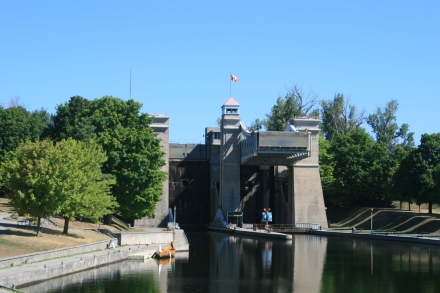 Approaching Peterborough Lift Lock