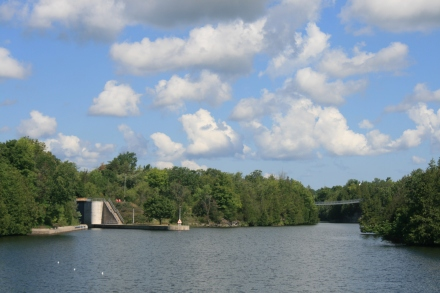 Lock 11 and Ranney Suspension Bridge