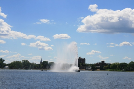 The fountain in Little Lake at Peterborough