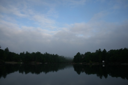 Morning mist clearing at Deep Bay, Sparrow Lake